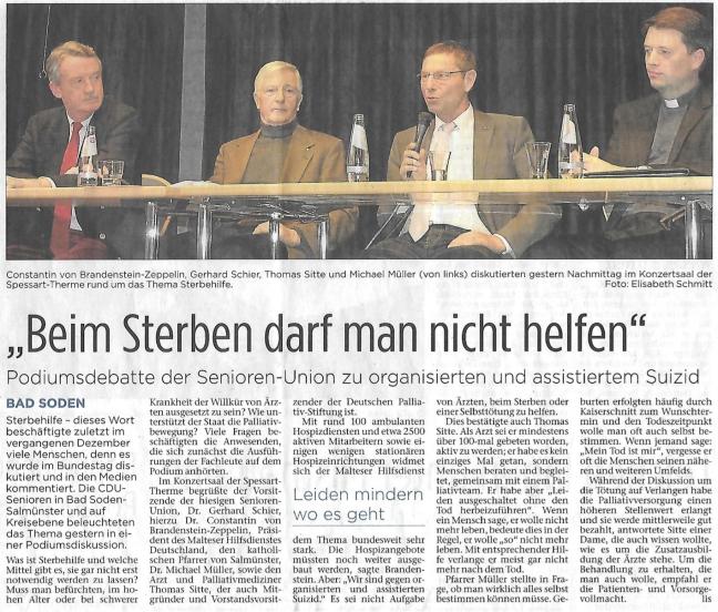 Bericht aus den Kinzigtal Nachrichten vom 15.1.2015 zur Podiumsdiskussion