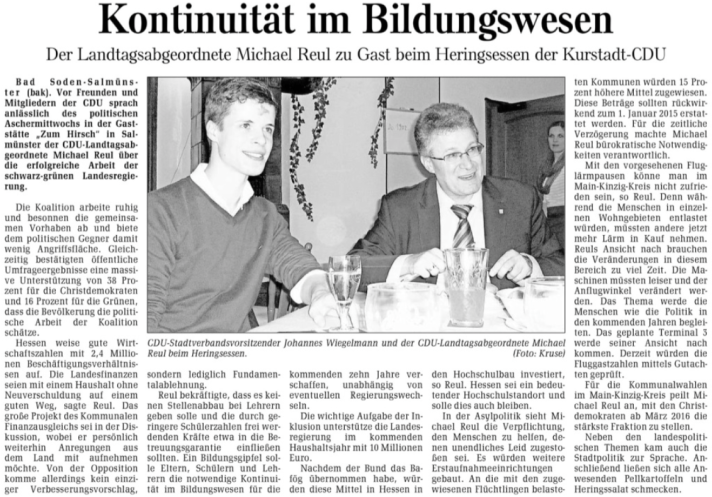 """Bericht zum politischen Aschermittwoch 2015 aus der """"Gelnhäuser Neuen Zeitung"""" vom 20.2.2015"""