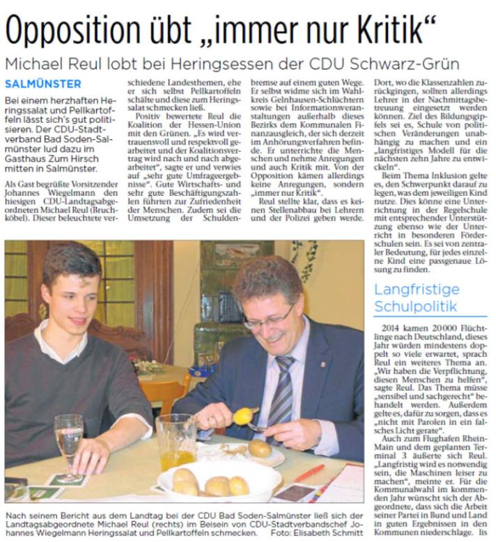"""Bericht zum politischen Aschermittwoch 2015  aus den """"Kinzigtal Nachrichten"""" vom 20.2.2015"""