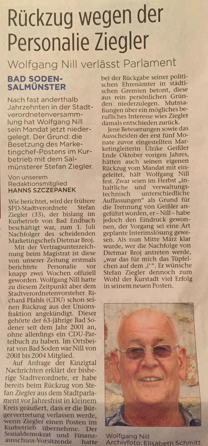 Lesen Sie hier die Hintergründe für den Rückzug von Wolfgang Nill.