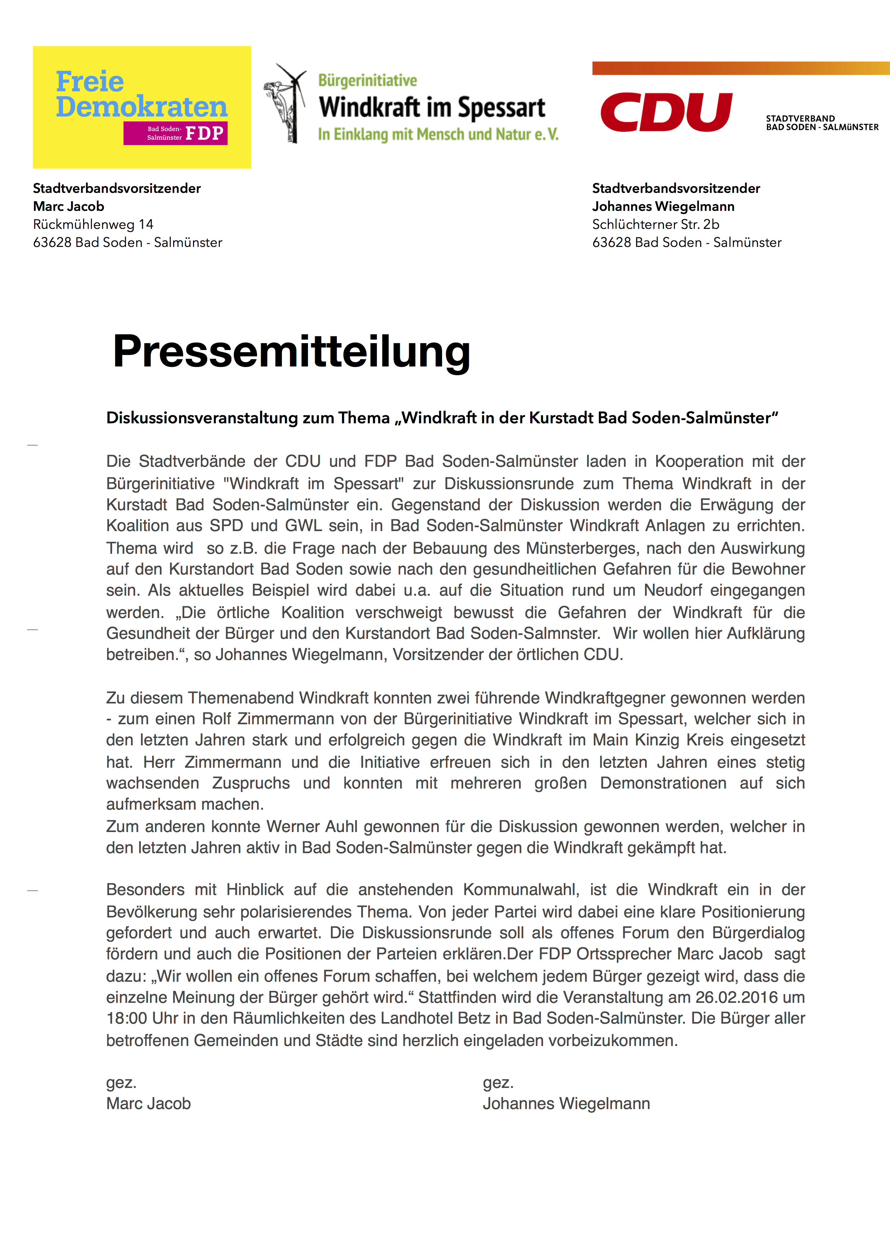 2016-02-16 Pressemitteilung Diskussionsveranstaltung Windkraft